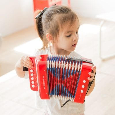 Red Accordion with Music Book