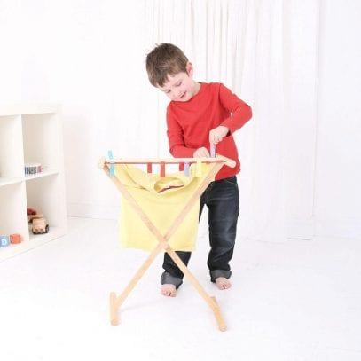 Bigjigs-Wooden-Clothes-Airer-Pretend-Play