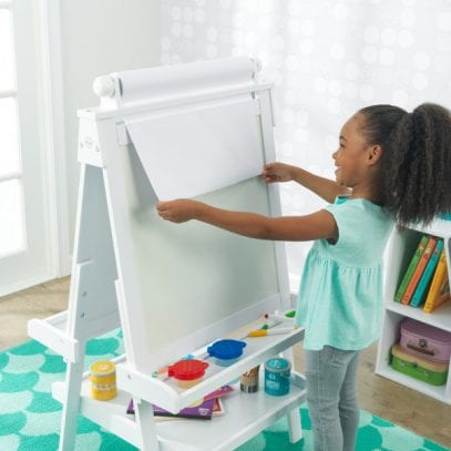 Kidkraft-wooden-easel-white-with-paper-roll