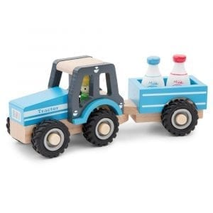 Wooden Tractor with Trailer and milk Bottles