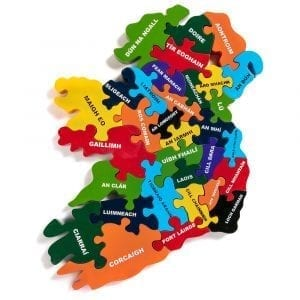 Map Of Ireland Jigsaw in Irish
