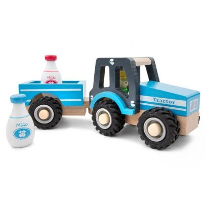 Wooden-toy-tractor-with-trailer-playset