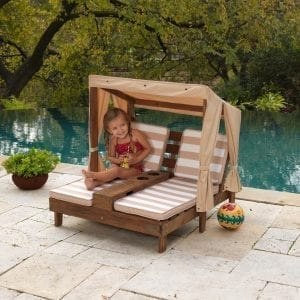 Kidkraft Double Chaise Lounge with Cupholders Oatmeal & White Stripes