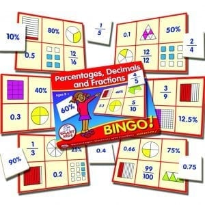Bingo Game – Percentages, Decimals & Fractions