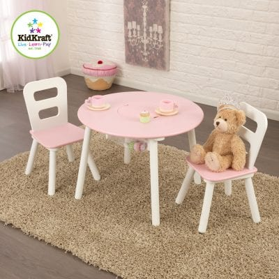 Round Storage Table and 2 Chairs