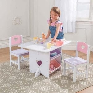 Kidkraft Heart Table and Chair Set with Plastic Bins