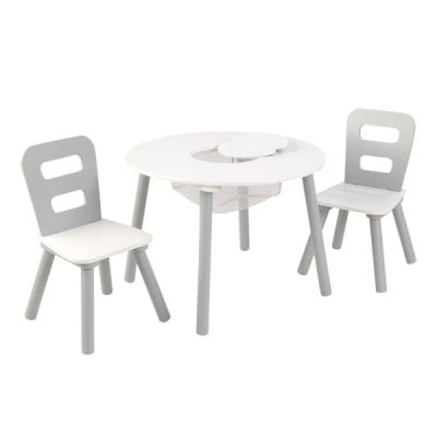 Kidkraft Round Storage Table and 2 Chairs Grey and White