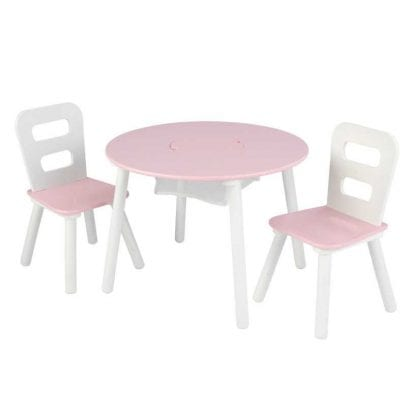 Kidkraft-Round-Storage-Table-and-two-Chairs-Pink-White-3