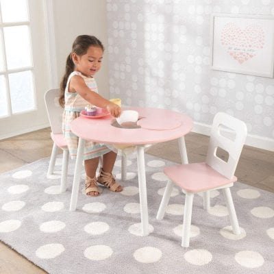 Kidkraft Round Storage Table and 2 Chair Set Pink and White
