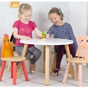 Wooden Farm Animals Table and 4 Chair Set