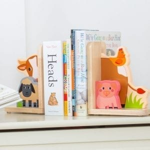 Wooden Bookends Farm Animals
