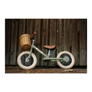 Trybike Steel 2-in-1 Vintage Green with Wicker Basket