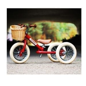 Trybike Steel 2 in 1 Vintage Red with Wicker Basket