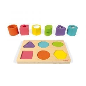 Janod Wooden Shapes and Sounds 6-Block Puzzle