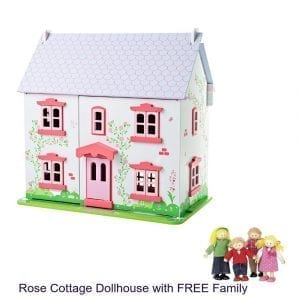 Rose Cottage Dollhouse Furnished with FREE Family