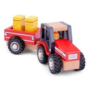 Wooden Tractor with Trailer and Hay Stacks