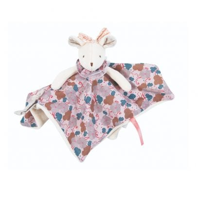 Moulin Roty Soft Toy Grey Mouse with Comforter Baby First Toy