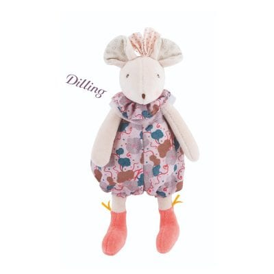 Moulin Roty First Toy Pink Mouse with Rattle Soft Toy