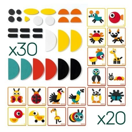 Djeco Geoanimo Wooden Construction Toy template cards and wooden pieces