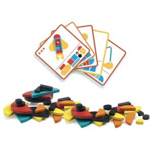 Djeco Geovroom Wooden Construction Toy template cards and wooden pieces