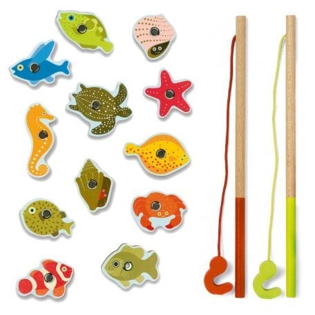 Djeco Fishing Game for Toddlers Tropic with 2 fishing rods and magnetic fish