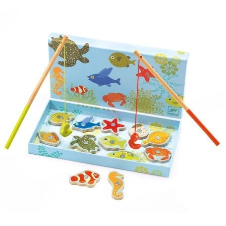Djeco Fishing Game for Toddlers Tropic with fishing rods and magnetic fish in box