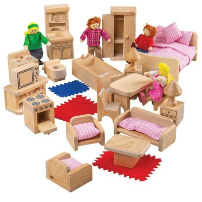 Family of 4 characters and furniture sets for a dollhouse