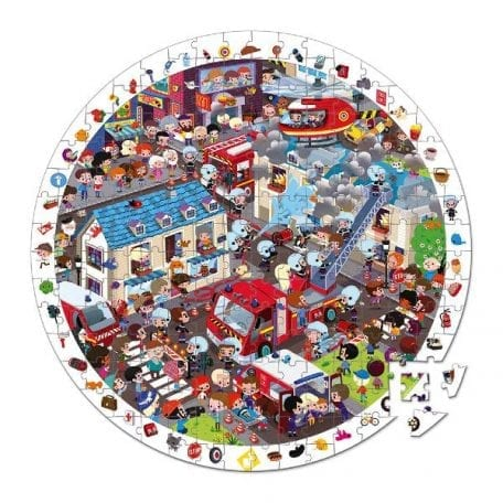 Firemen Observation Puzzle round Shaped Janod 208 pieces
