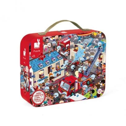 Fireman Puzzle in a suitcase Janod 208 pieces