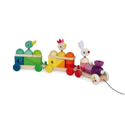 Janod Giant Wooden Pull along Train Zigolos bay and Toddler Toy