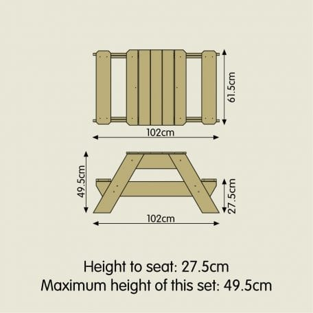 TP Outdoor early fun picnic table dimensions