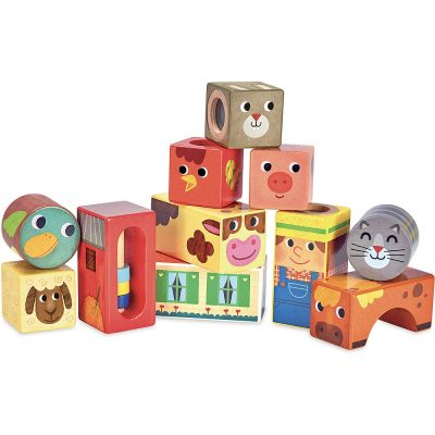 Vilac Musical colourful farm stacking blocks for toddlers