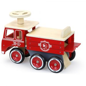 Vilac Ride-on Wooden Fite truck red and White