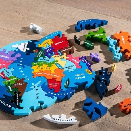 Wooden Jigsaw Map of the World from Alphabet Jigsaws colourful and chunky pieces