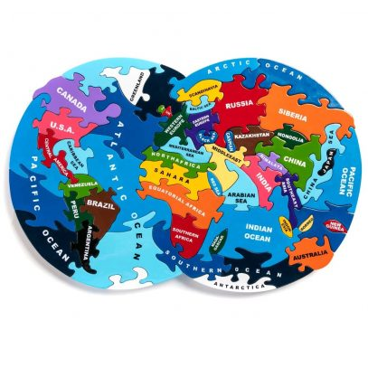 Wooden Jigsaw Map of the World from Alphabet Jigsaws complete puzzle