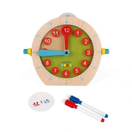 Janod Essential tell the Time with Clock and Cards Wooden Toy
