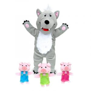 Big Bad Wolf Hand Puppet and 3 Little Pigs